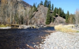 Here the creek valley grows wider and offers more gravel bars to fish from